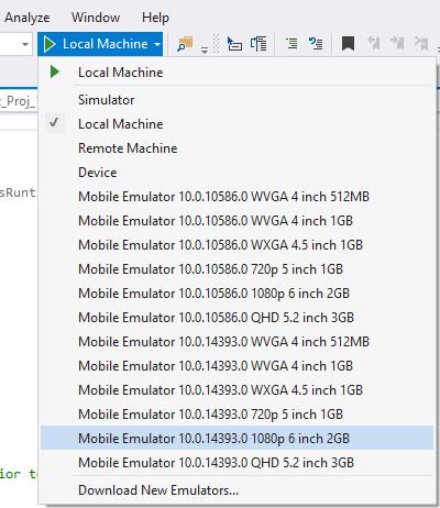 Select Windows 10 Mobile Emulator