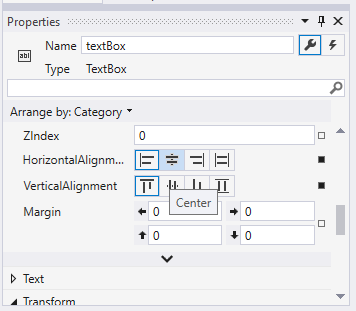 Properties of TextBox control element