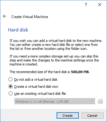 Gambar 3. Tahap Pembuatan Hard Disk Virtual di VirtualBox