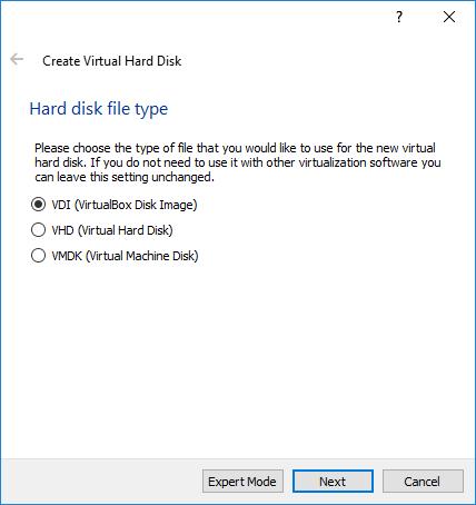 Gambar 4. Tahap Pemilihan Tipe File Hard Disk di VirtualBox
