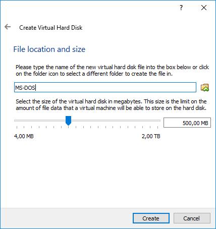 Gambar 5. Tahap Pengisian Nama File Hard Disk dan Pemilihan Ukurannya di VirtualBox