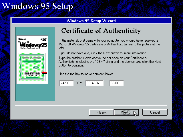 Gambar 8. Masukkan product key Windows 95 di jendela setup Certificate of Authenticity