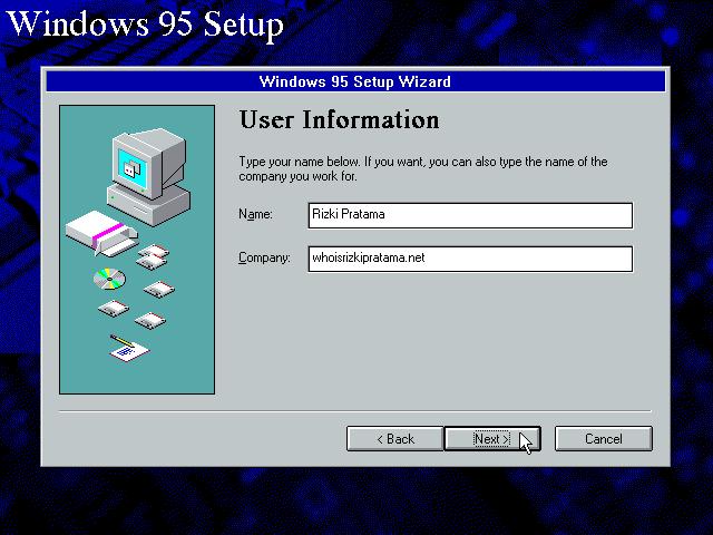 Gambar 9. Isi field Name dan Organization di User Information