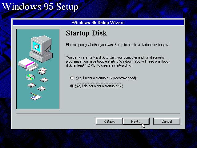 Gambar 12. Setup menginginkanmu untuk memilih apakah kamu ingin membuat startup disk atau tidak