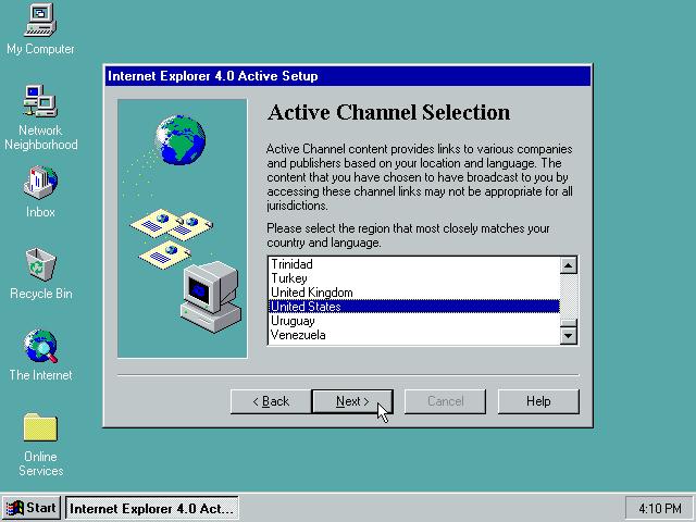 Gambar 25. Active Channel Selection di setup Windows 95