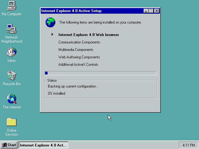 Gambar 26. Setup sedang mengkonfigurasi komponen-komponen Internet Explorer