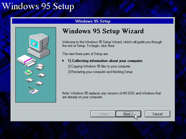 Gambar 5. Jendela wizard setup Windows 95