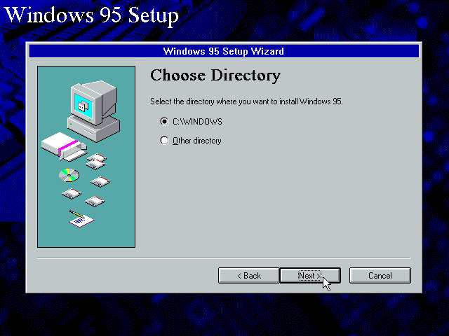 Gambar 6. Setup meminta untuk memilih direktori tempat instalasi Windows