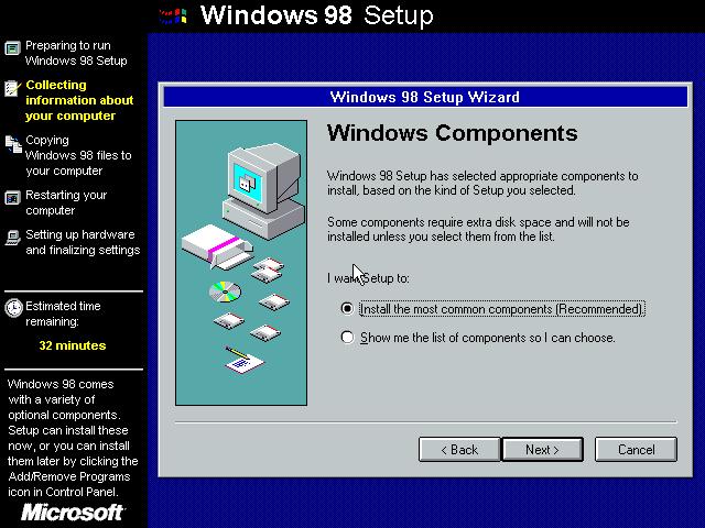 Gambar 9. Wizard setup bagian pemilihan preferensi komponen Windows