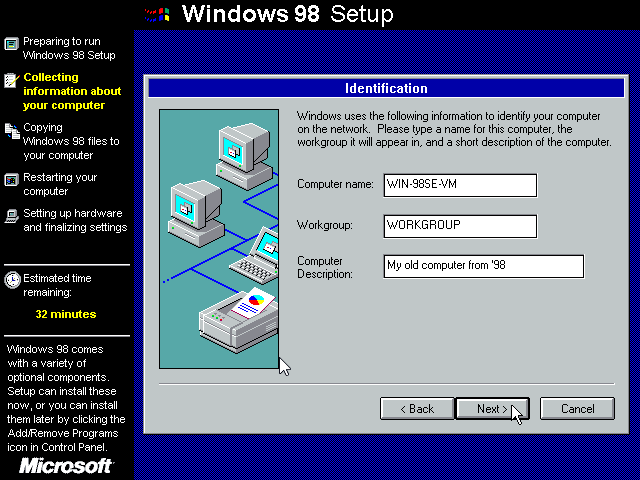 Gambar 10. Jendela Identification yang berisikan formulir pengisian identitas komputer