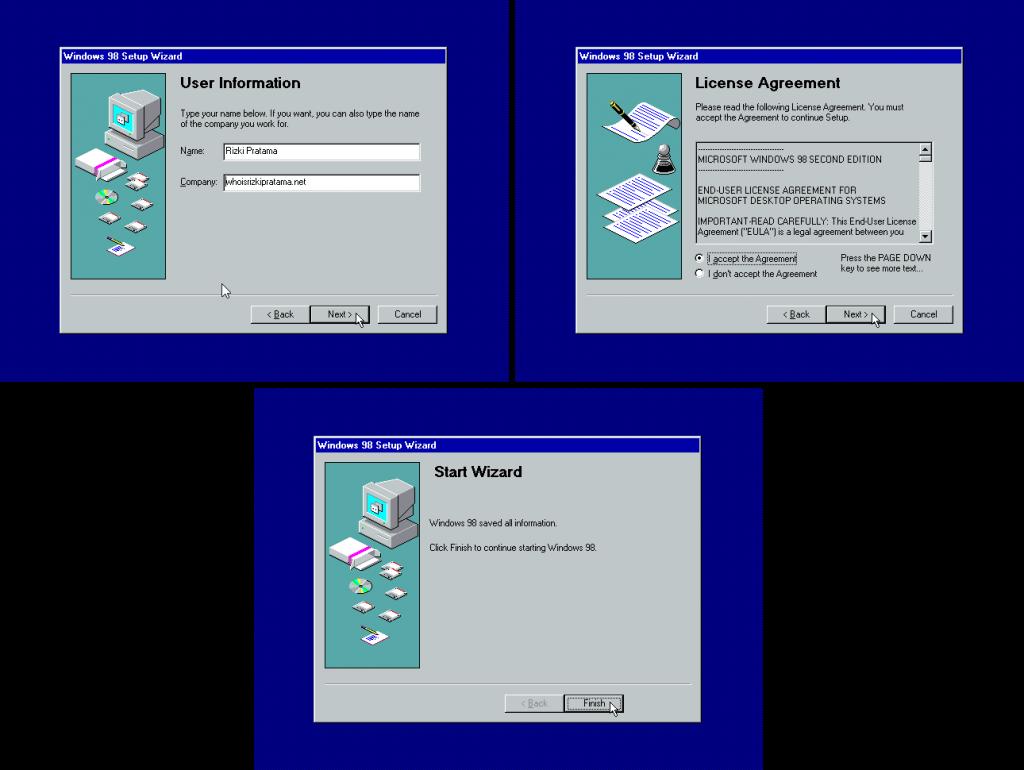 Gambar 14. Jendela User Information (atas kiri), License Agreement (atas kanan), dan Start Wizard (bawah)