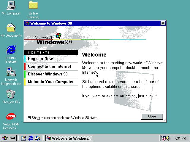 Gambar 18. Tampilan desktop Windows 98 SE dengan tour yang sedang berjalan