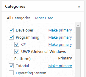 """Figure 2. The primary category of the post is """"UWP (Universal Windows Platform)"""""""