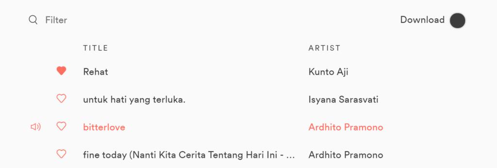 Hasil modifikasi tampilan playlist Spotify yang diterapkan oleh Spicetify setelah menghapus kolom Date Added.